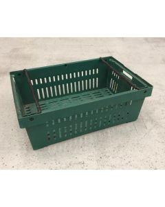 Brugt plastkasse 600x400x210 mm - perf. - grøn