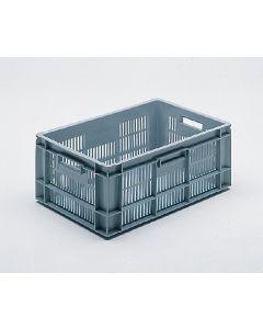 Euro-Norm plastkasse perf. 600x400x240 mm - grå