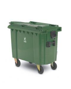 Affaldscontainer 4-hjulede 660 L - grøn